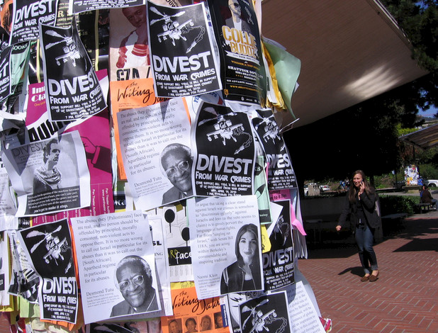 Fliers on the UC Berkeley campus during debates over divestment