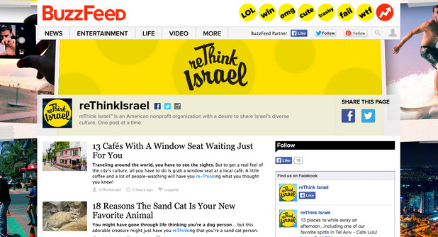 Screenshot of reThink Israel content on BuzzFeed, including article about wild cat
