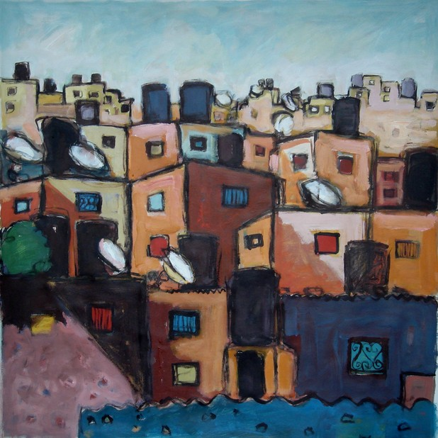 Raed Issa's painting Water Tanks