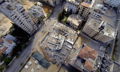Aerial image of obliterated housing bloc in the Gaza Strip