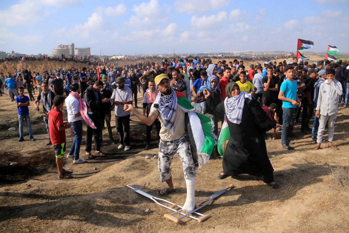 Protesters in Gaza.