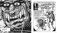 Two-page spread from Diaspora Boy book shows close-up of Diaspora Boy face on one page, and full Israel Man and Diaspora Boy comic on the other page