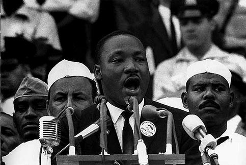 """Dr. Martin Luther King Jr. delivers his most famous speech """"I have a dream,"""" August 28, 1963."""