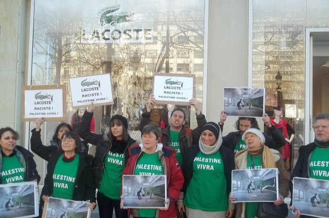 protests held at lacoste stores across france against racism and censorship of palestinian. Black Bedroom Furniture Sets. Home Design Ideas