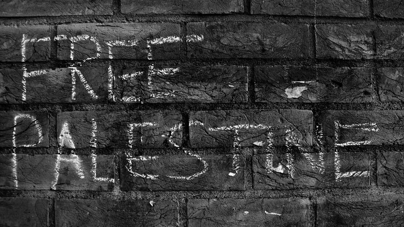 "Chalk graffiti on a brick wall reads ""Free Palestine"""