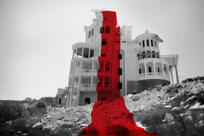 A black and white image of an unfinished building with a red line superimposed on it