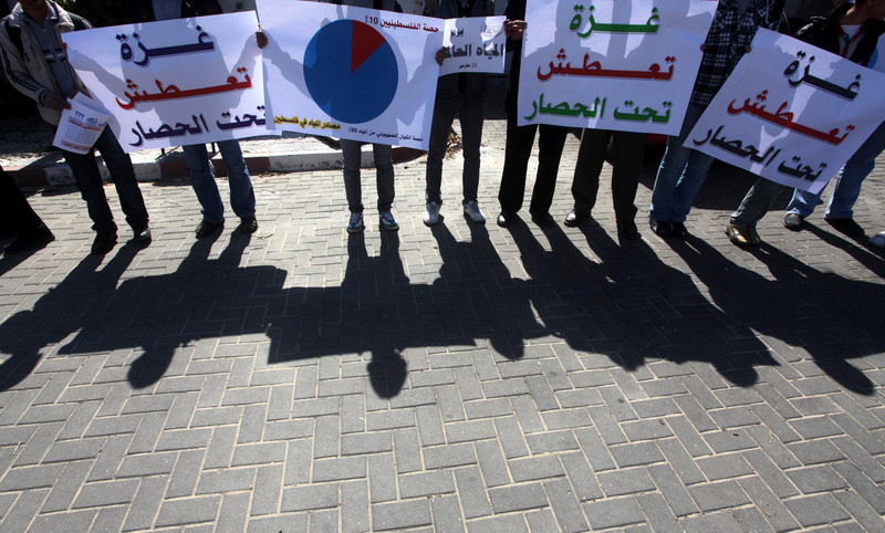 youths hold signs protesting the siege on Gaza