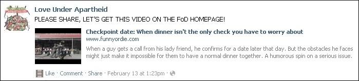Facebook post promoting primary Love Under Apartheid video