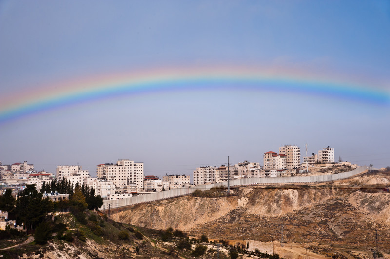 A rainbow of Palestine's landscape, divided by Israel's concrete wall