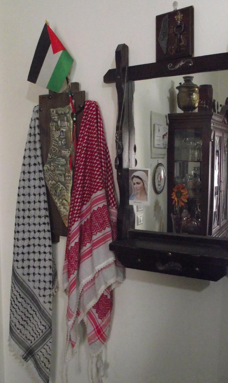 Patriotic memorabilia are displayed on wall