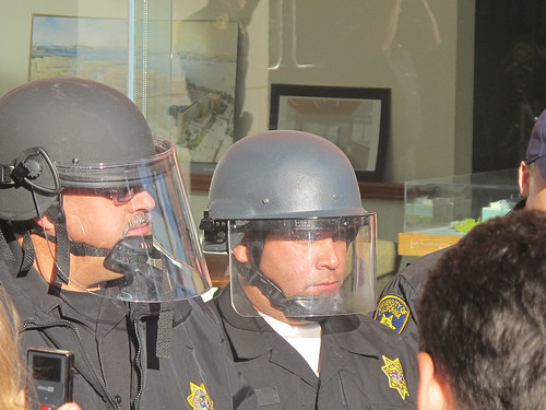 Campus police guard a meeting of the University of California's Board of Regents in 2010