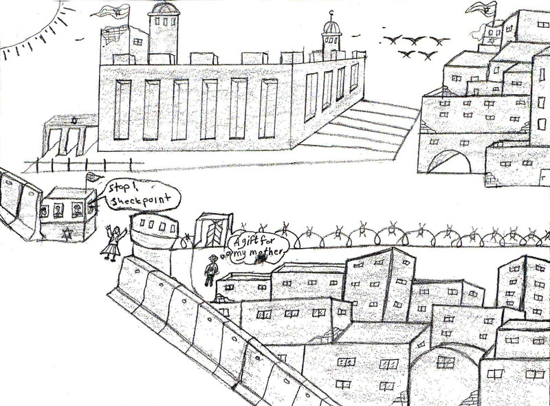 Drawing shows scene of Israeli checkpoint in Palestinian city