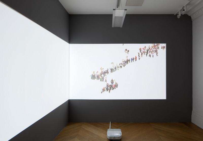 Installation view of projection onto wall