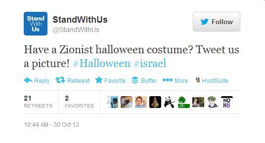StandWithUs tweet soliciting photos of Zionist Halloween costumes
