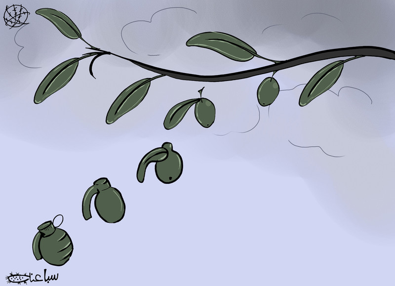 Cartoon shows leaves from olive branch morphing into hand grenades