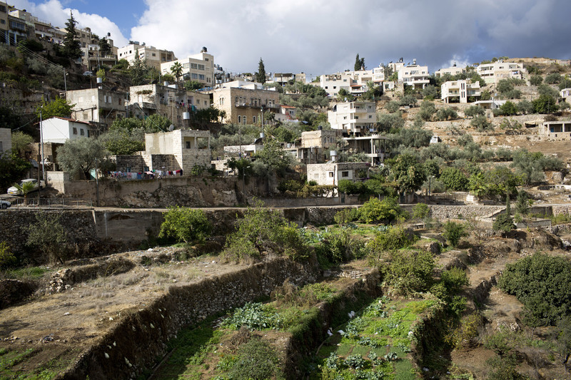 Landscape view of terraced land and stone houses
