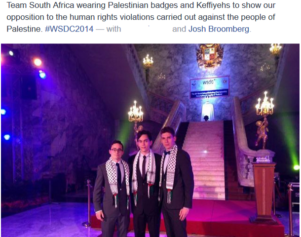 Musker brothers and Josh Broomberg wearing kuffiyehs in Thailand
