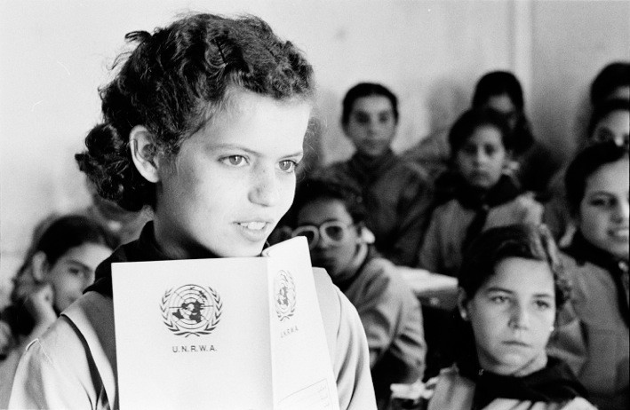 This 1983 image of a Palestinian refugee in Syria forms the centerpiece of a new UNRWA call for solidarity with the Palestinian people