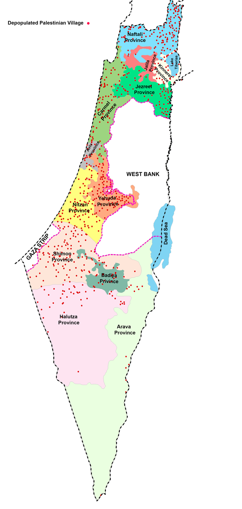 Beer Sheva Israel Map%0A Map    Depopulated villages  shown as red dots  in relation to proposed  division of presentday Israel into ten Jewish and two Arab provinces