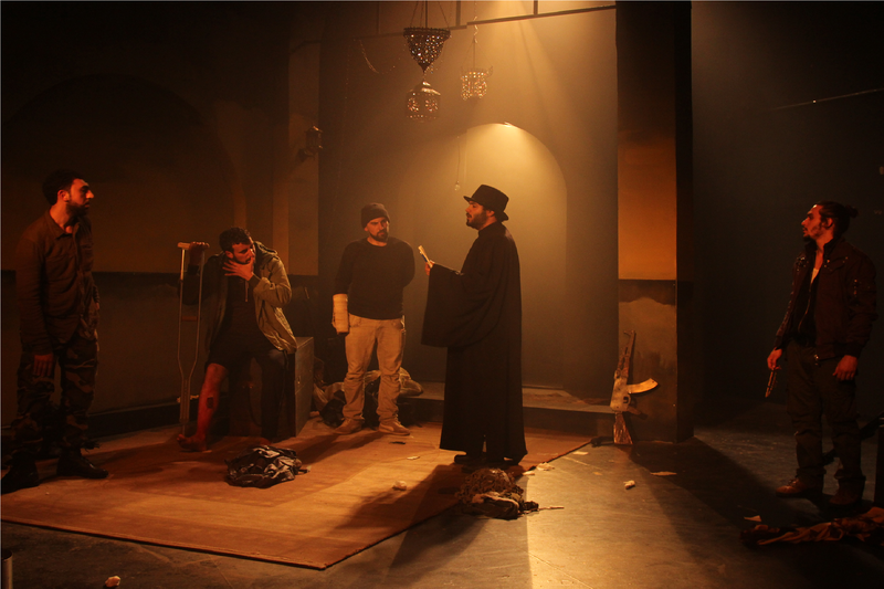 A scene from the Freedom Theatre play The Siege, which tours the UK throughout May and June 2015.