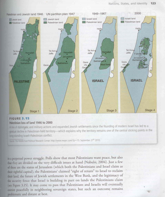 An image published by Elder of Ziyon from the textbook Global Politics, as part of the anti-Palestinian blogger's successful campaign to pressure McGraw Hill over maps depicting land loss in Palestine.