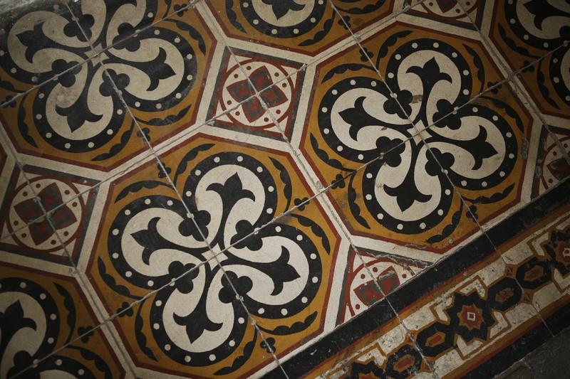 Close-up of patterned tile floor