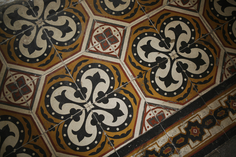 Close-up of patterned tile floor