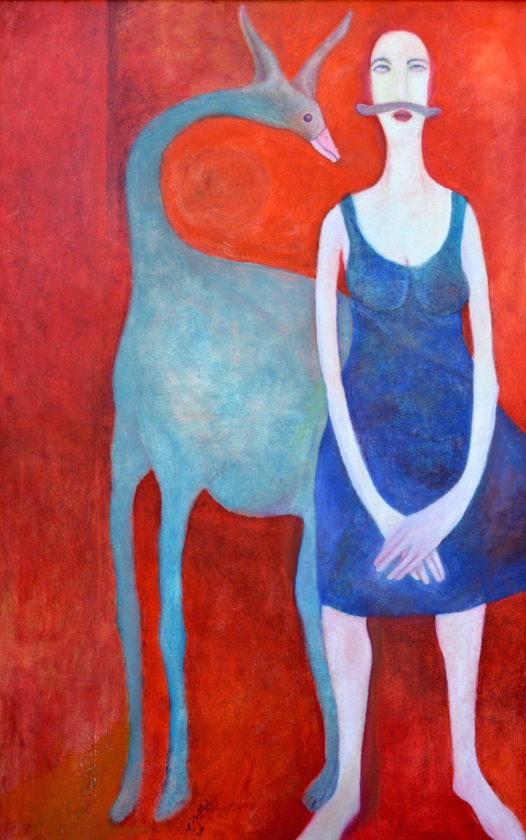 Painting of woman with mustache standing in front of abstracted bird