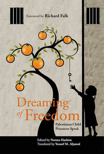 Cover of Dreaming of Freedom book shows illustration of child reaching for key hanging from orange tree