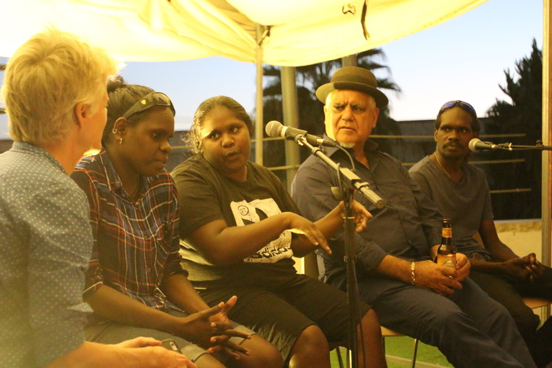 Members of the Karrabing Film Collective in conversation with Richard Bell (second from right) inside the Aboriginal Tent Embassy. Isa Freij