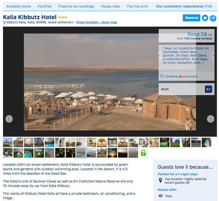 Screenshot of Kalia Kibbutz hotel listing shows photograph of Dead Sea beach
