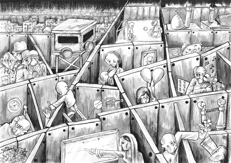 Mohammed Sabaaneh cartoon on Israel's wall compartmentalizing Palestinian life