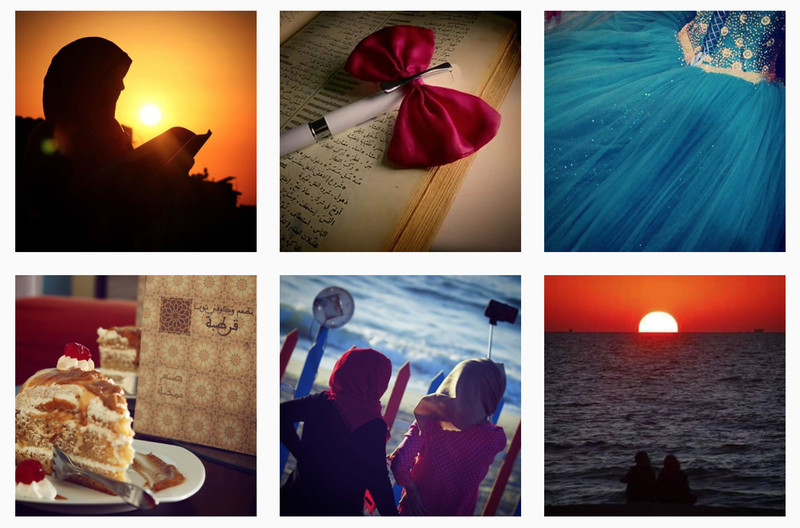 Screenshot of Instagram feed shows artistic images of a dress, sunsets, and a book