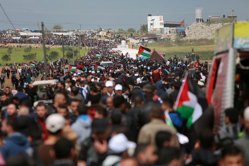 Photo shows massive crowd, some holding Palestinian flags