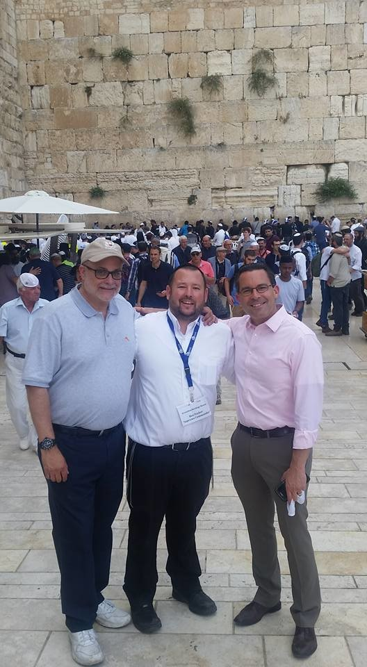 Rabbi Ben Packer (center) with Mark Levin (left) and Paul Teller (right) at the Western Wall plaza in occupied East Jerusalem.
