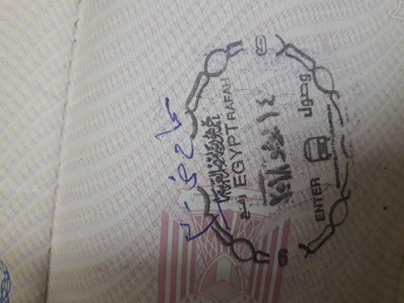 An Egyptian entry stamp in a passport.