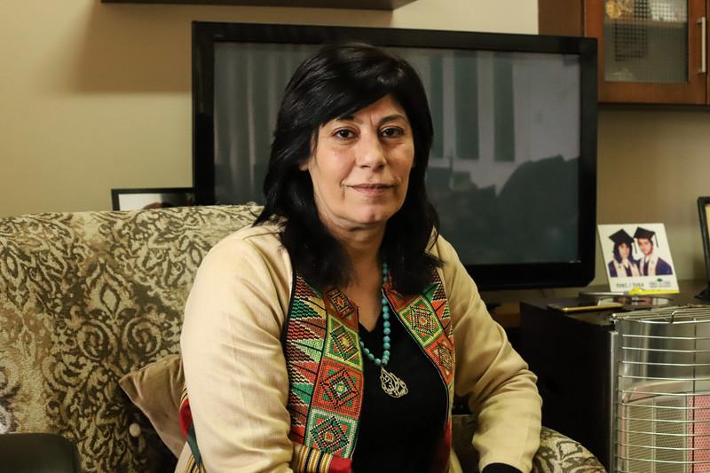 Khalida Jarrar in her living room at home in Ramallah