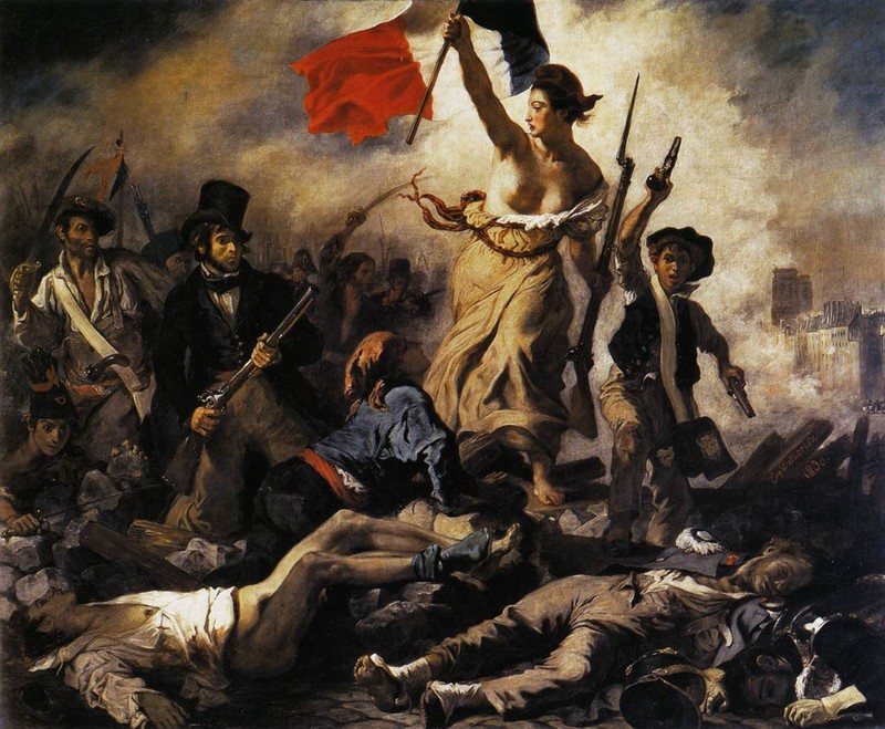 A painting of a bare-chested woman holding aloft the red, white and blue French flag amid armed and agitated protestors