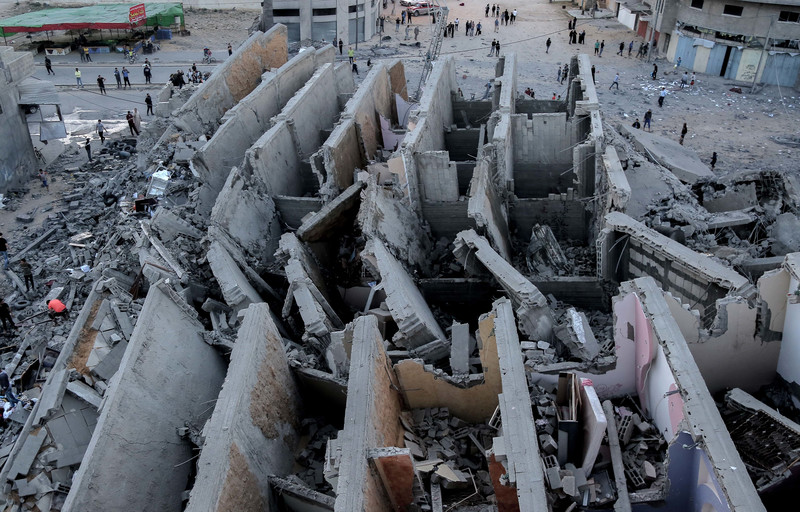 Aerial view of destroyed multi-story building
