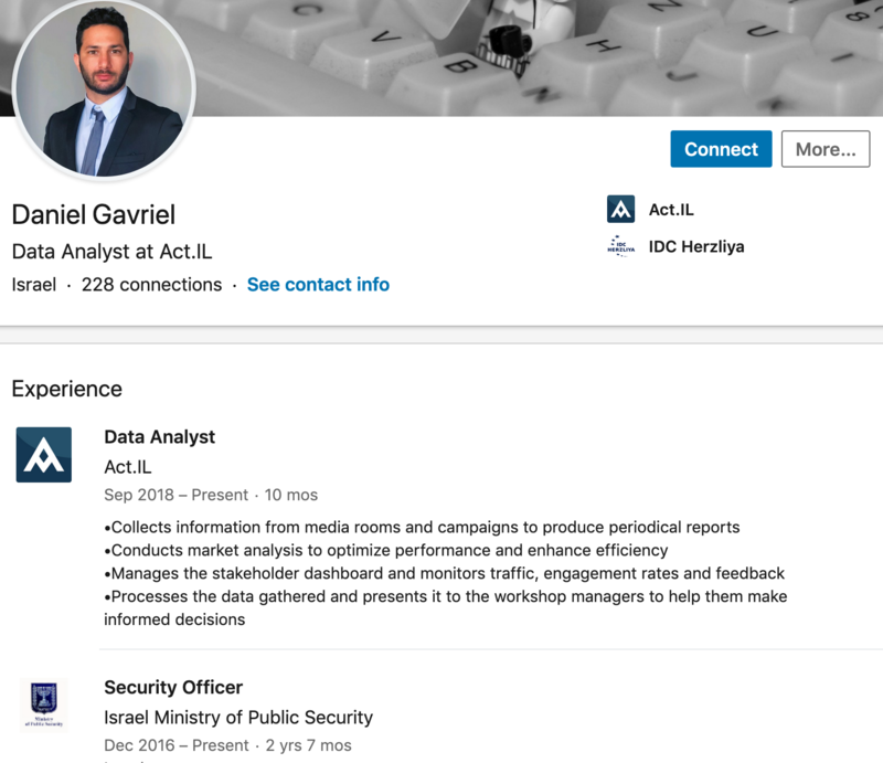 A screenshot from the LinkedIn profile shows a man in a blue suit with a crooked tie