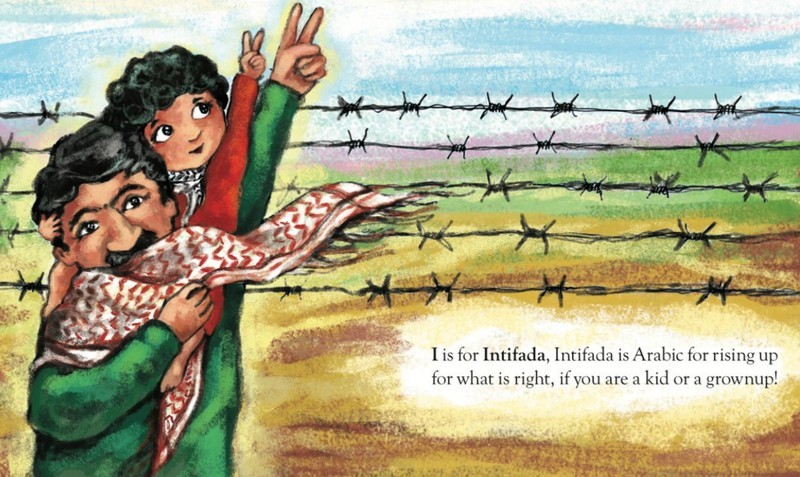 "A painting of a man holding his child, from the book with the text ""I is for Intifada, Intifada is Arabic for rising up for what is right, if you are a kid or a grownup!"""
