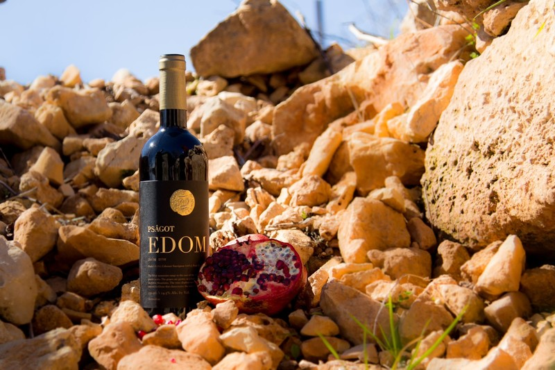 A wine bottle and a pomegranate are perched on some rocks.
