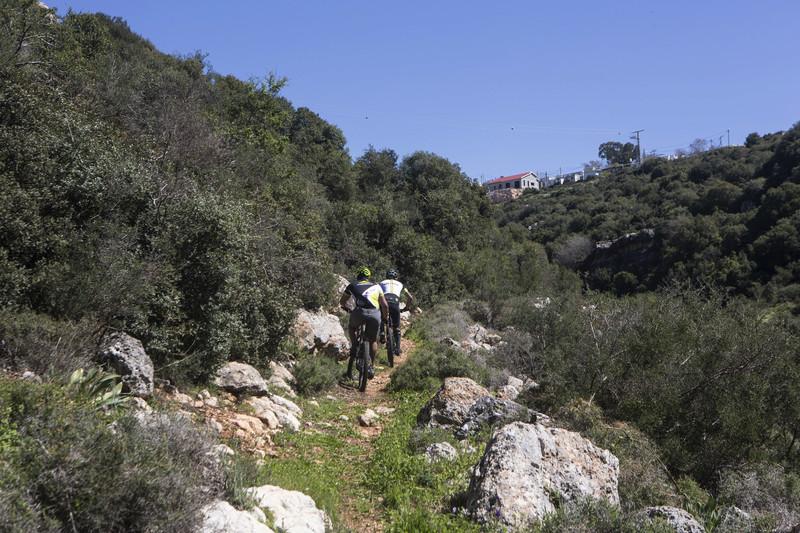 Israeli settlers ride bikes