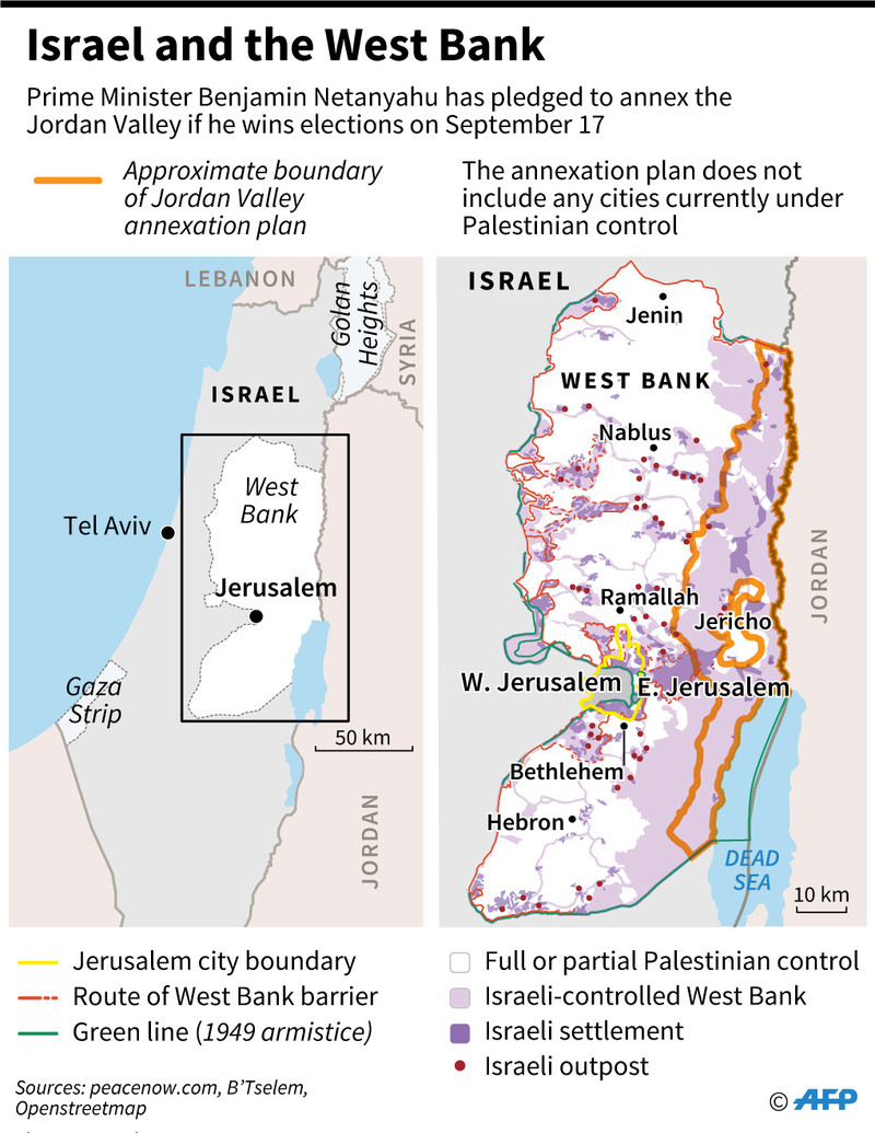 A map of the occupied West Bank showing the area Israeli PM Netanyahu says he wants to annex