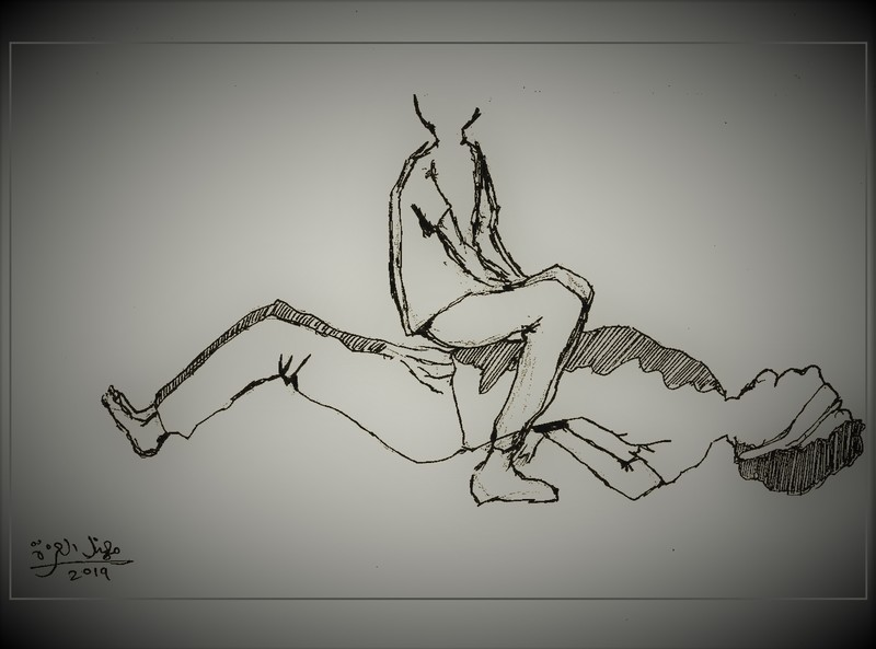 Sketch of a person sitting on another chained person on the ground
