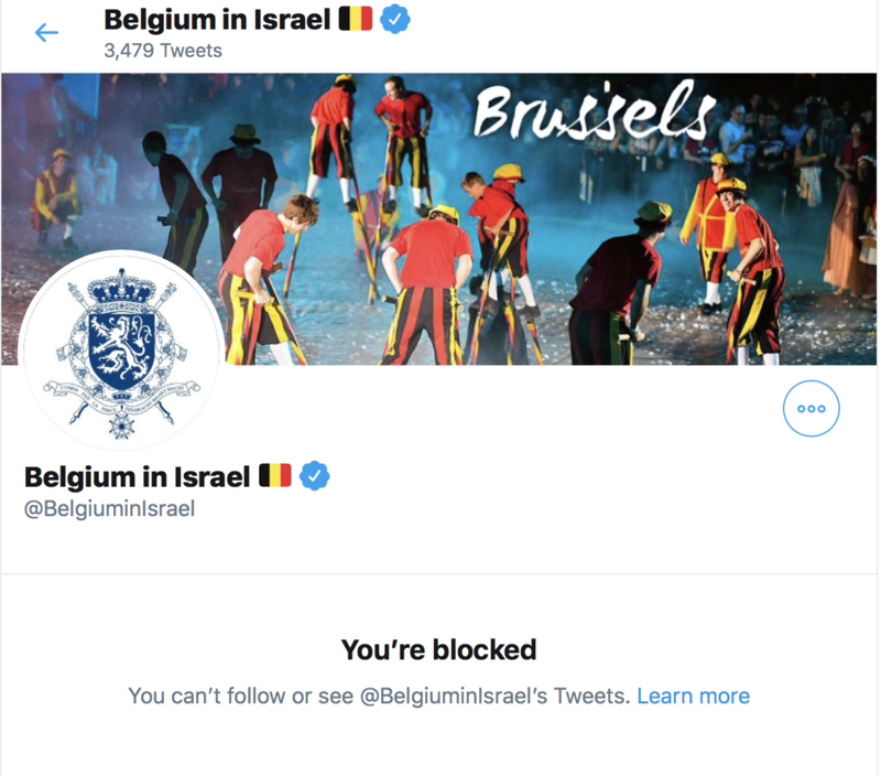 Screenshot of Belgian embassy's twitter page