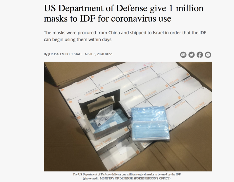 Screenshot shows headline stating US Department of Defense give 1 million masks to IDF for coronavirus use