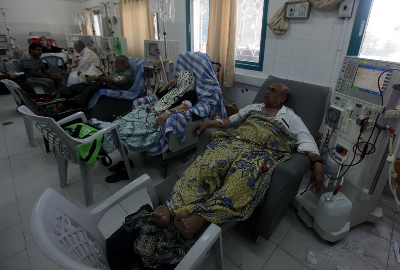 Patients receive dialysis treatment in a hospital room