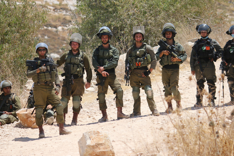 Several Israeli soldiers holding guns stand in a row