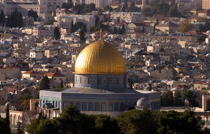 A golden dome dominates the Jerusalem skyline